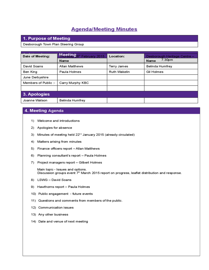 Project Meeting Minutes Template sample Free Download – Free Sample Minutes of Meeting Template