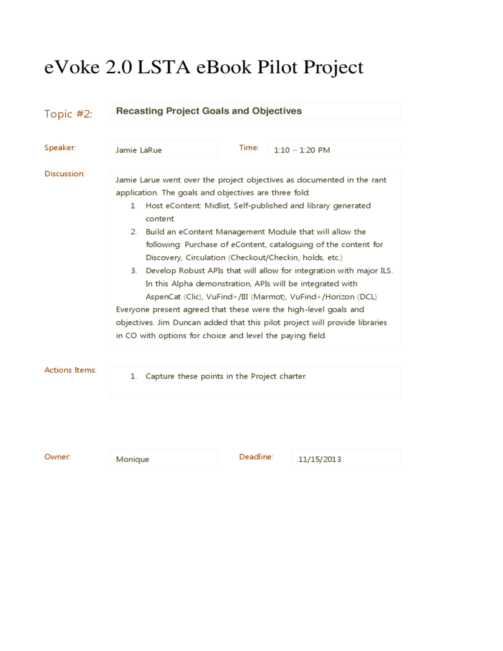 Sample Project Meeting Minutes Template - Colorado