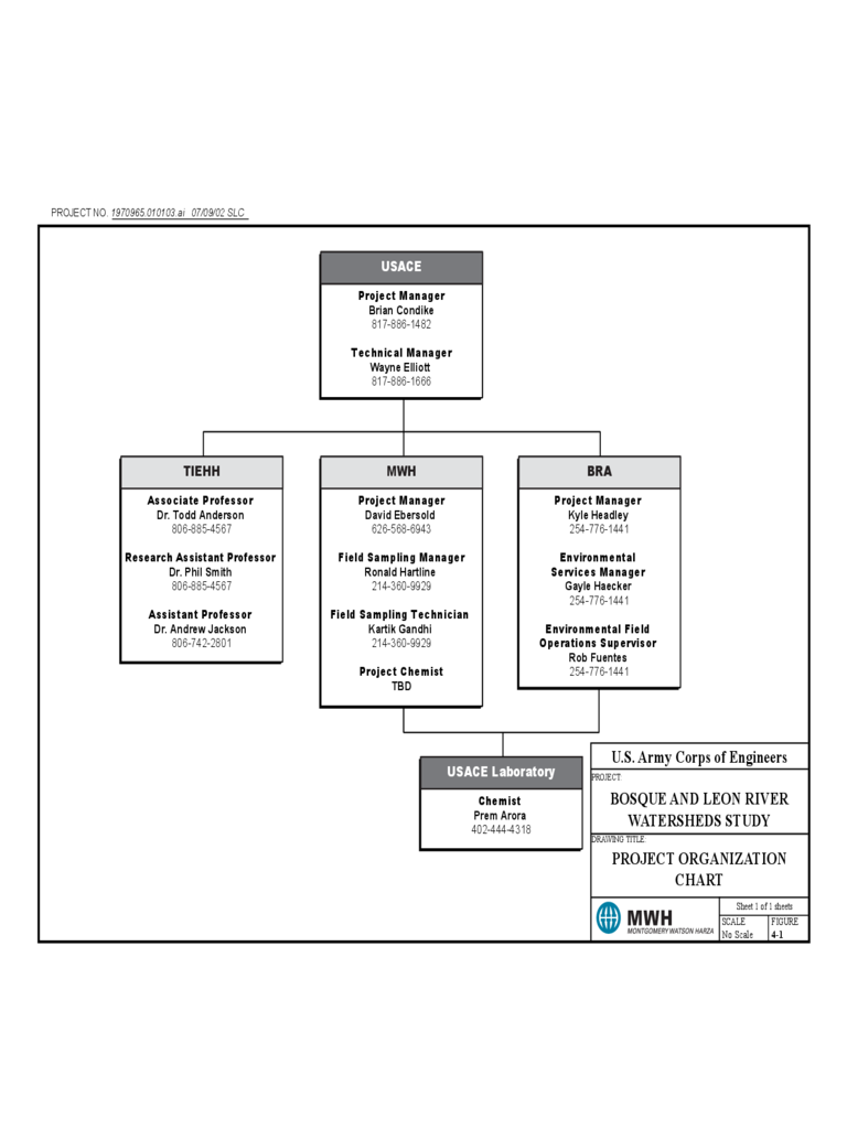 Project Organization Chart - United States Army Free Download