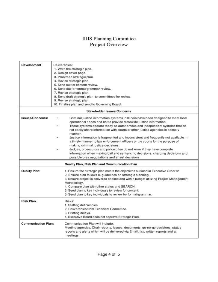 Standard Project Overview Template Free Download