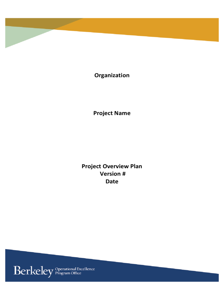 Project Overview Plan - University of California, Berkeley Free Download