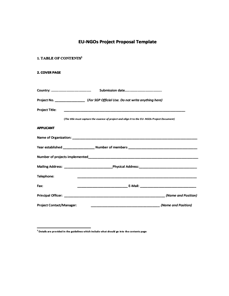 EU-NGOs Project Proposal Template - UNDP