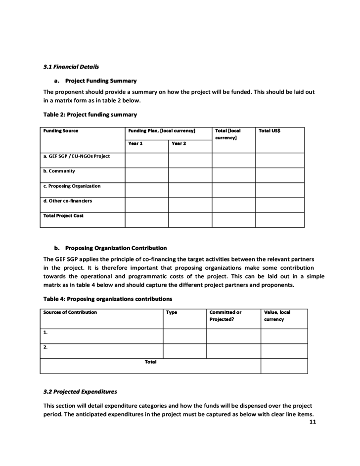 Eu Ngos Project Proposal Template Undp Free Download