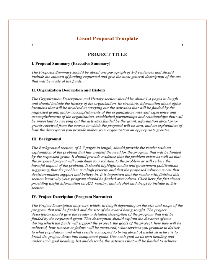 Grant Project Proposal Template Free Download