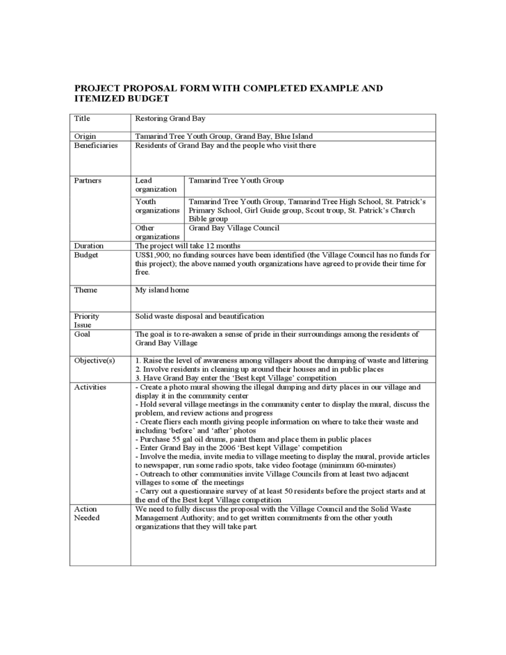 project proposal form with completed example and itemized With itemized proposal template