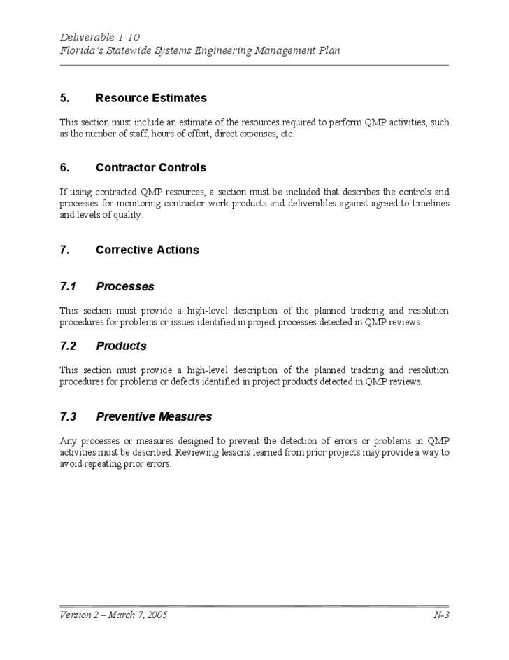 project management quality plan template