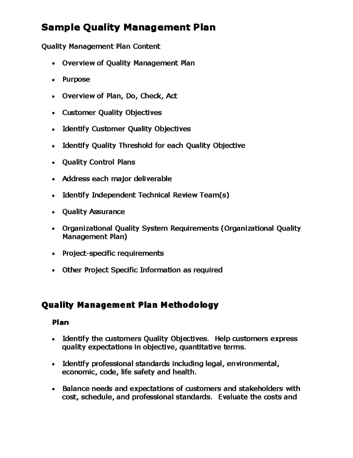 Quality Management Strategy Template. quality assurance plan ...