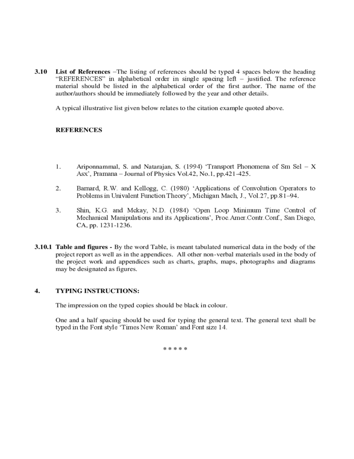 Format for Preparation of Project Report