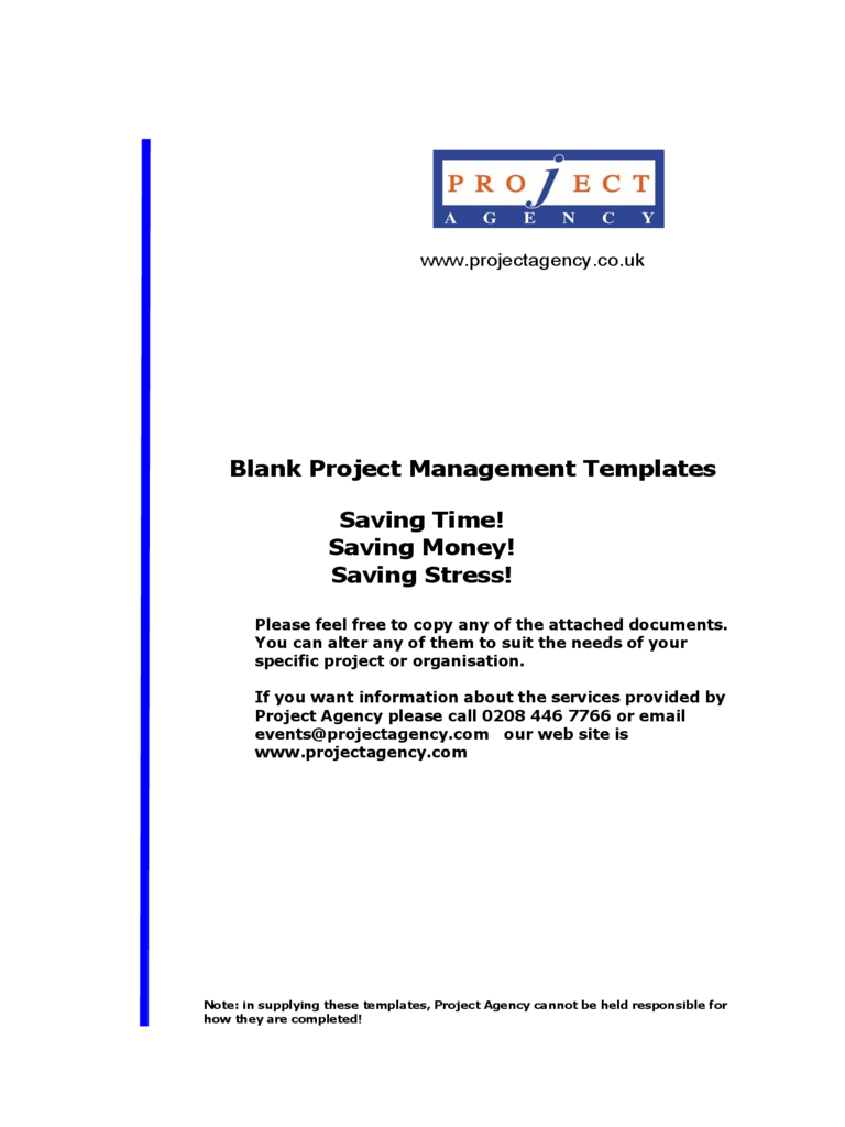 Blank Project Management Templates