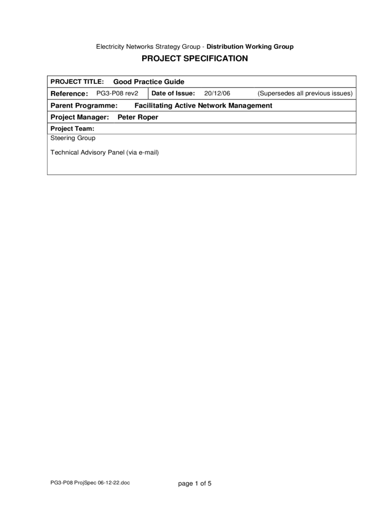 Project Specification Form