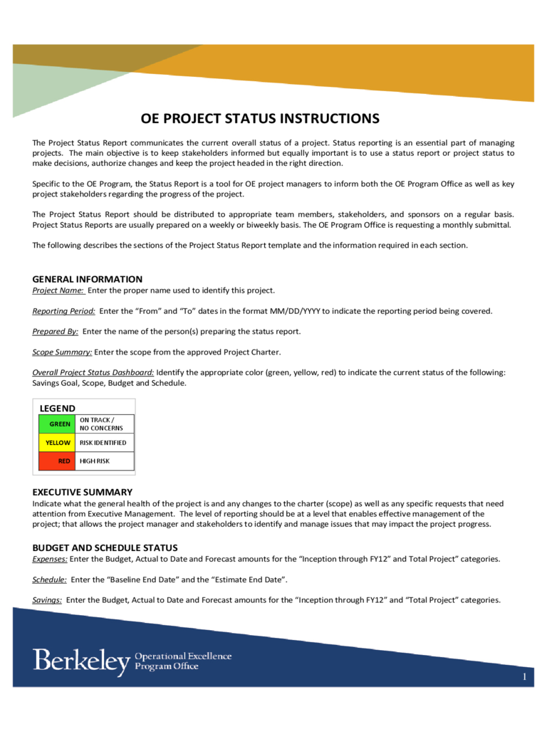 Example of executive summary for a project report for Executive summary project status report template