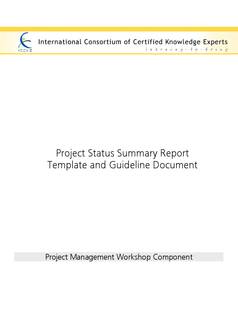 Project Status Summary Report Template and Guideline Document