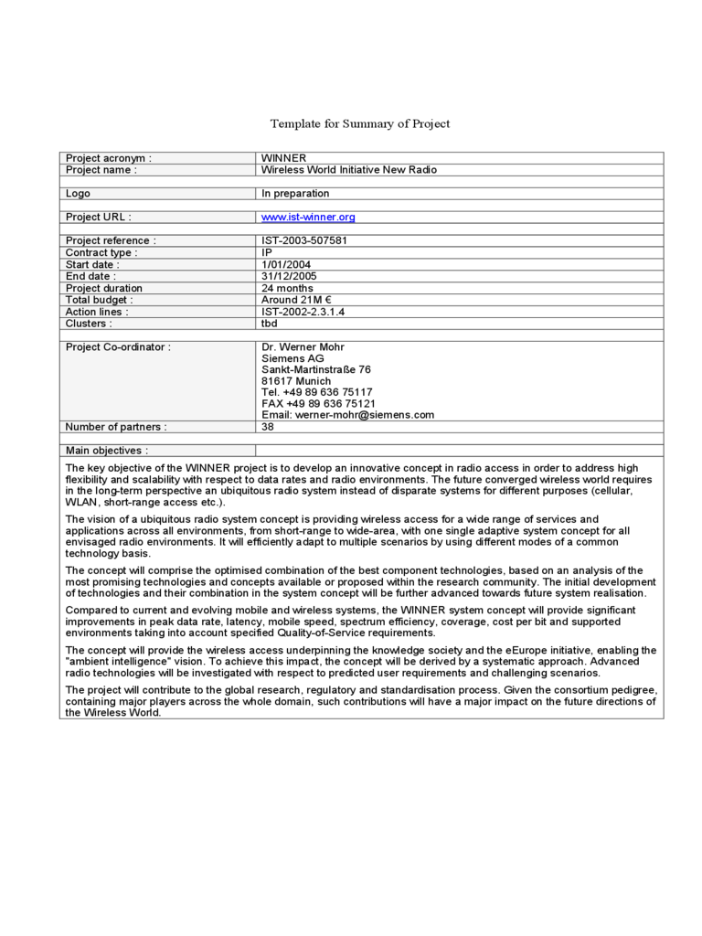 Project Summary Template Word sample of business reports – Project Summary Template