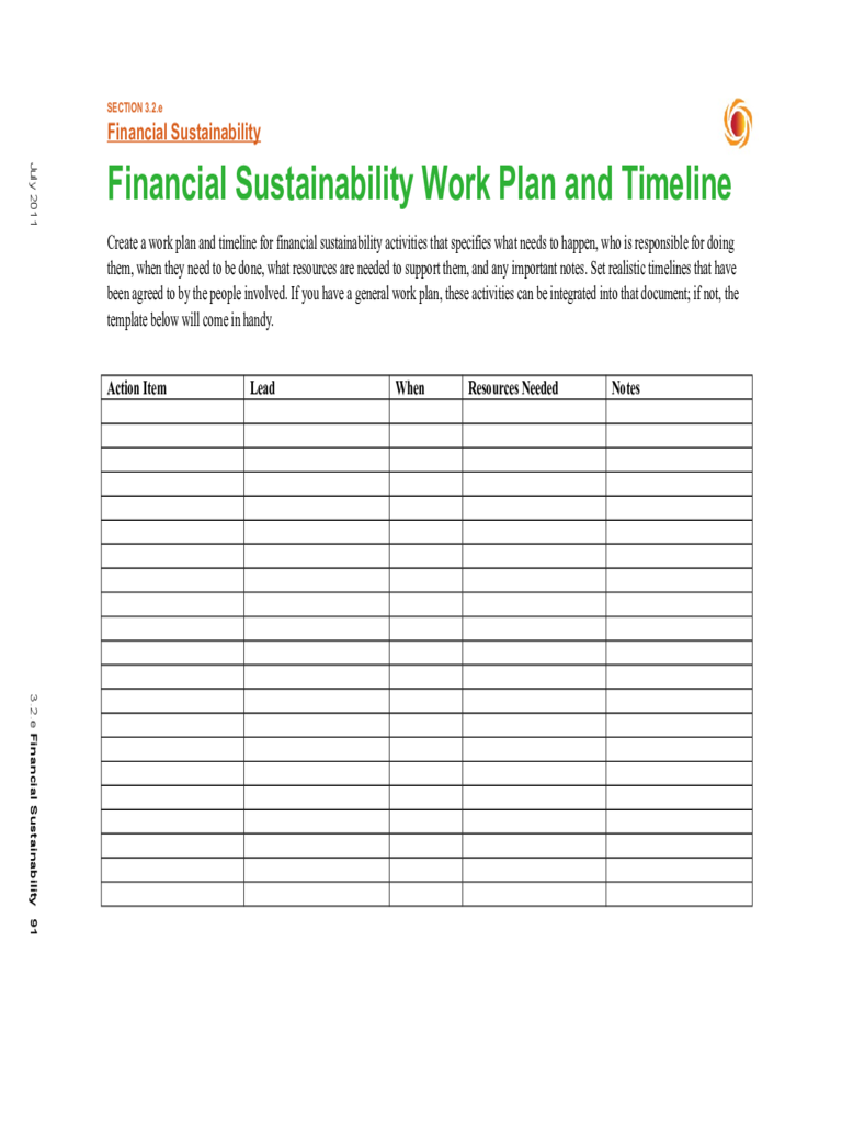 Workplan and Timeline Tempate Free Download