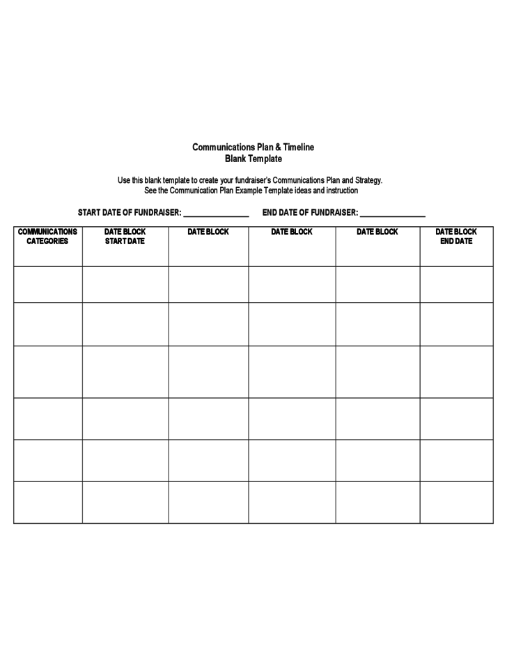 comms plan template - communications plan timeline blank template free download