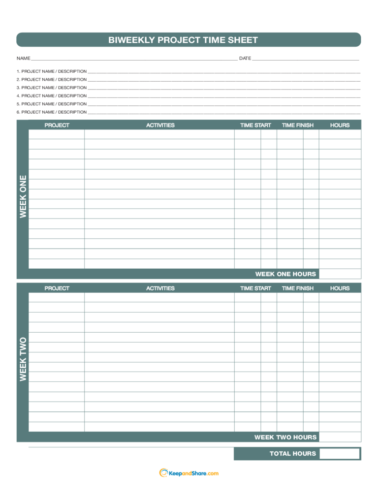 Biweekly Project Time Sheet