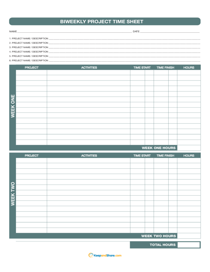 biweekly project time sheet free download