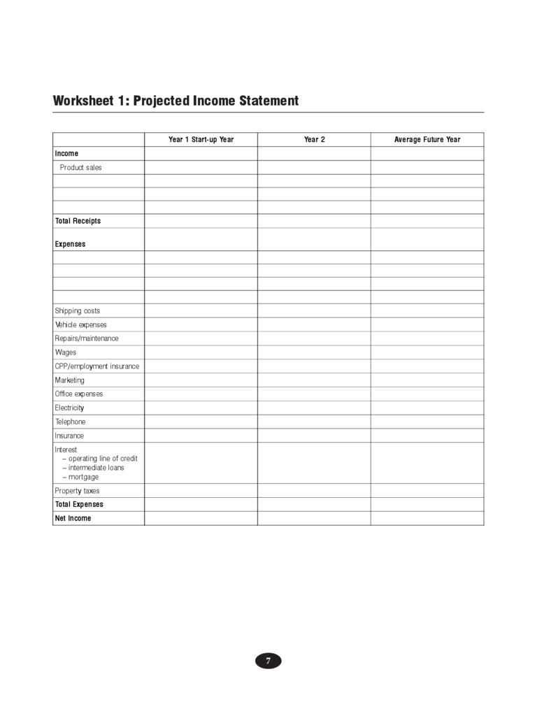 Projected income statement template 2 free templates in for Projected financial statements template