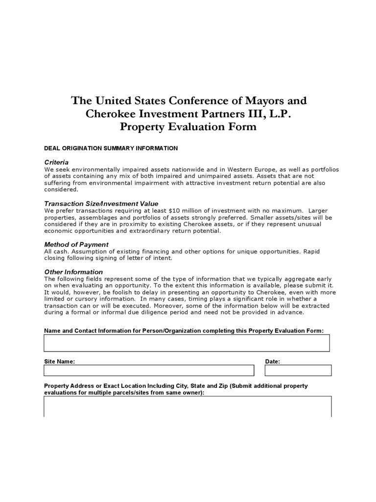 property evaluation form
