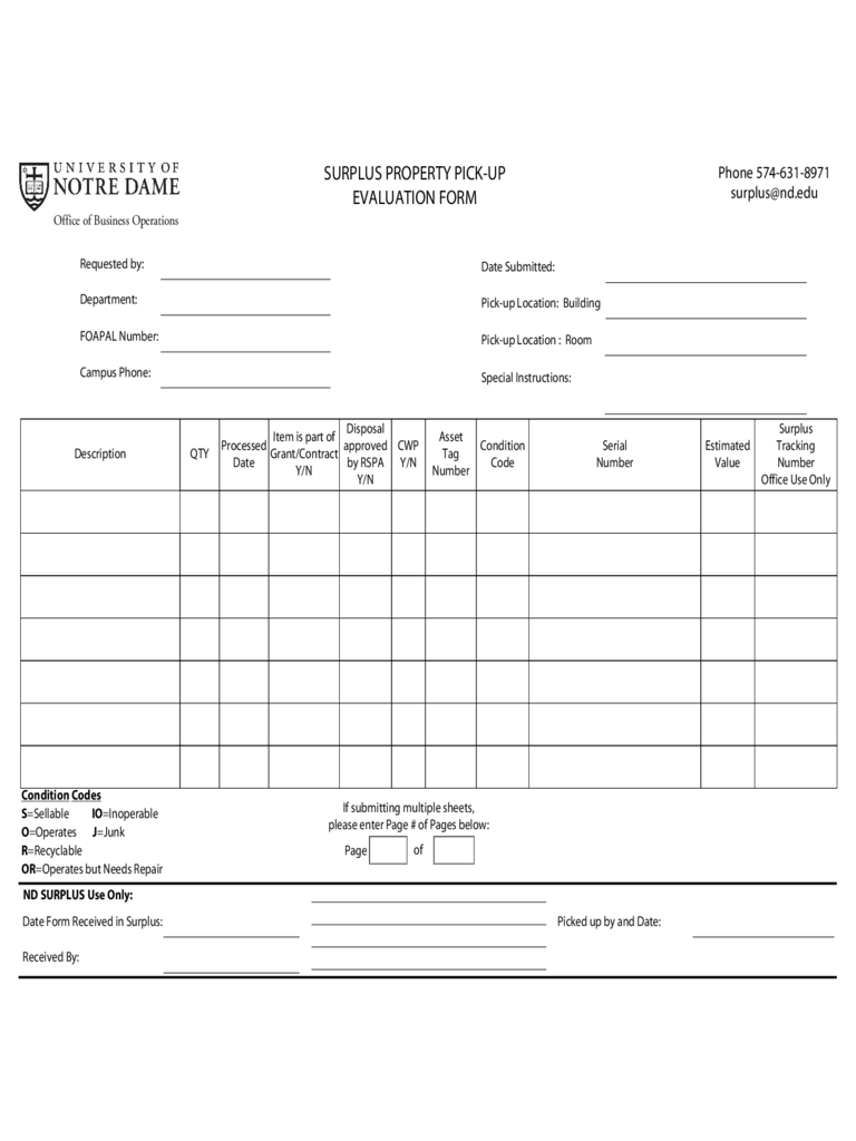 surplus property pick up evaluation form d1