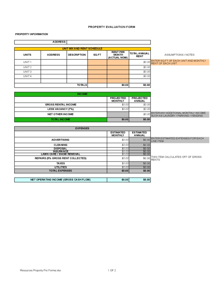 Property Evaluation Form 4 Free Templates In Pdf Word