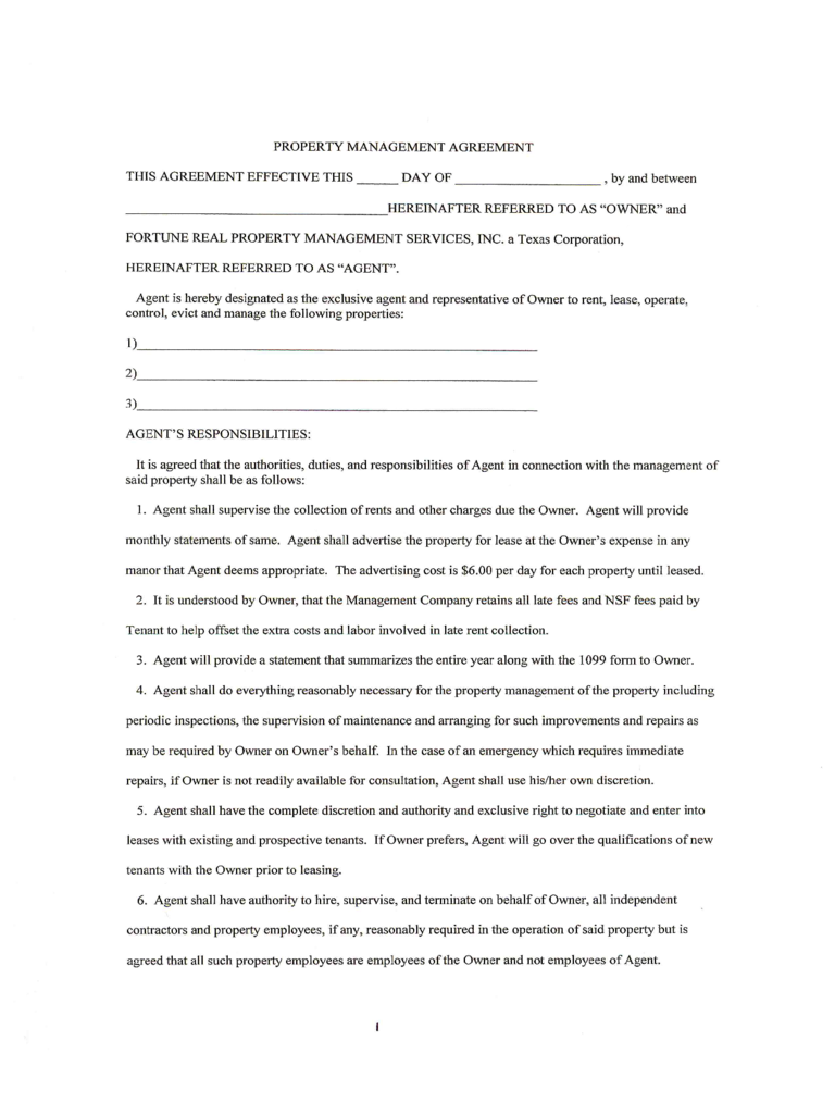 Doc460595 Management Agreement Management Agreement Template – Property Management Proposal Template