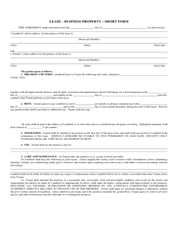 Short Business Property Lease Form Free Download