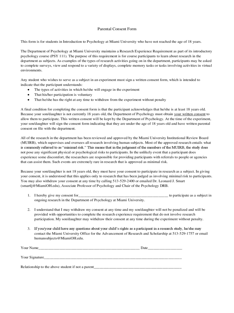 Psychology Consent Form 2 Free Templates in PDF Word Excel – Psychology Consent Form
