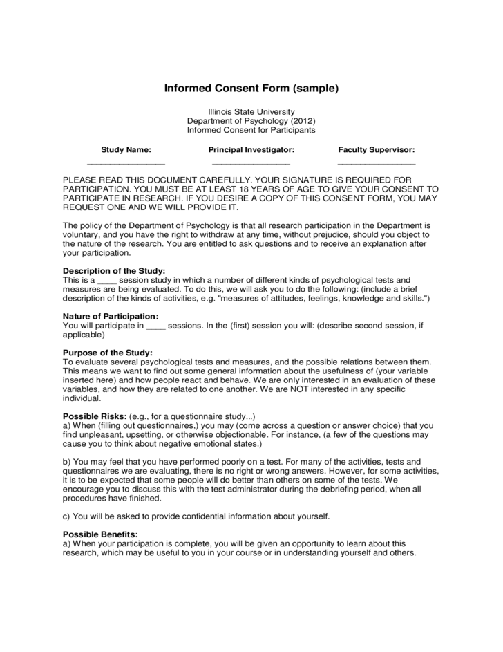 Informed Consent Form (sample) - Illinois