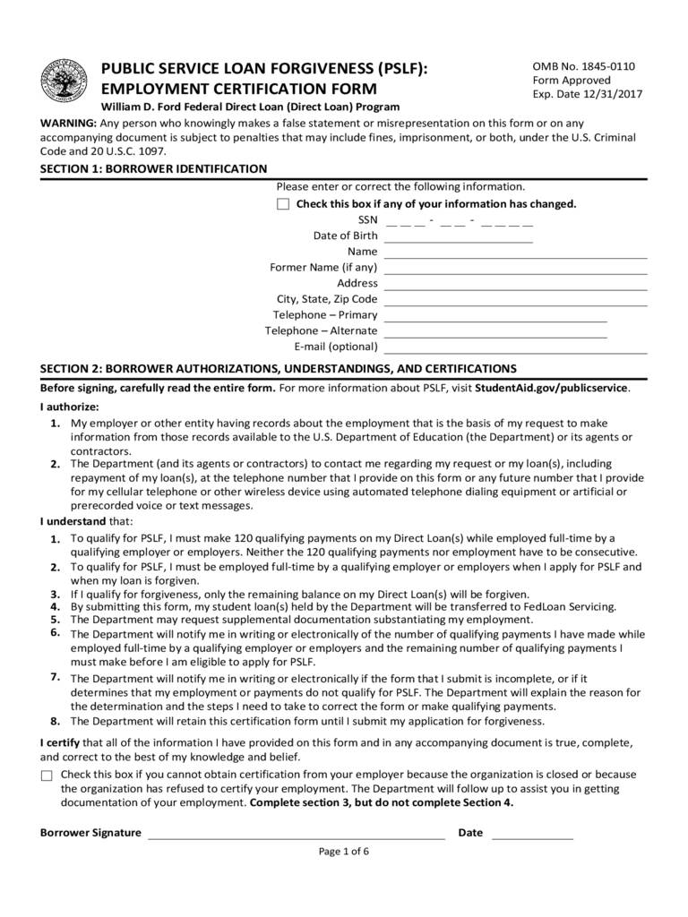 Employment Certification for Public Service Loan Forgiveness (PSLF) Free Download