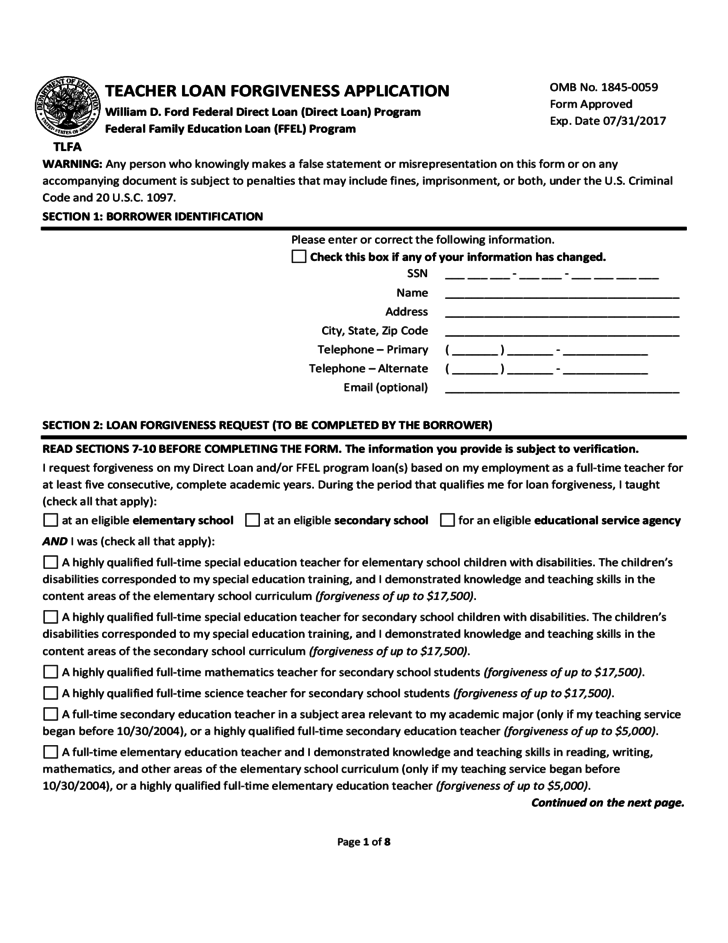 Teacher Loan Forgiveness Application