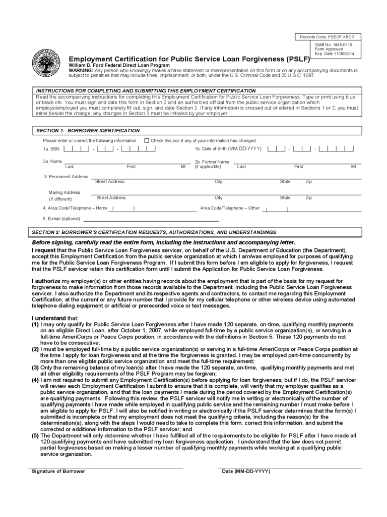 Public Service Loan Forgiveness Sample Form