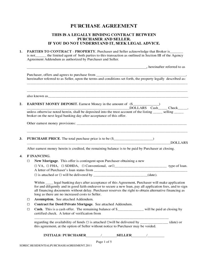 Purchase Contract Form South Dakota Free Download