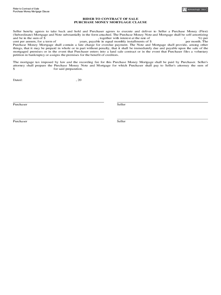 Purchase Money Mortgage Form 2 Free Templates in PDF Word – Mortgage Note Template