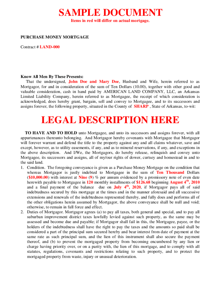 Doc575709 Sample Mortgage Contract Mortgage Agreement – Mortgage Agreement Form