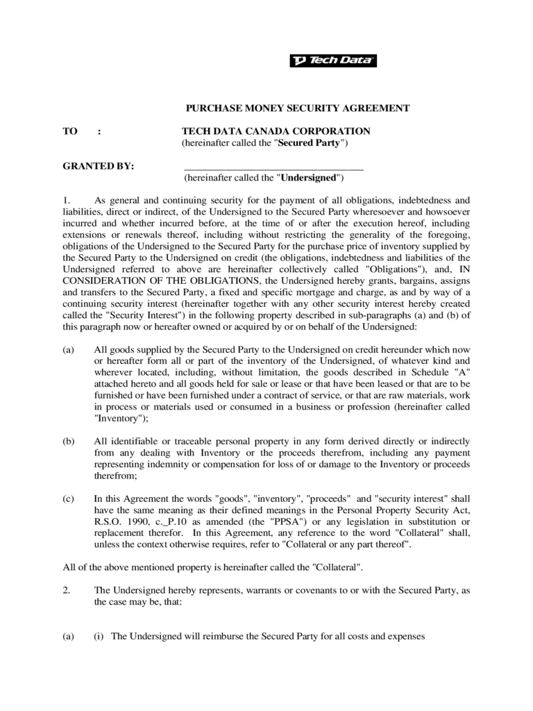 Purchase Money Security Agreement Form - Canada