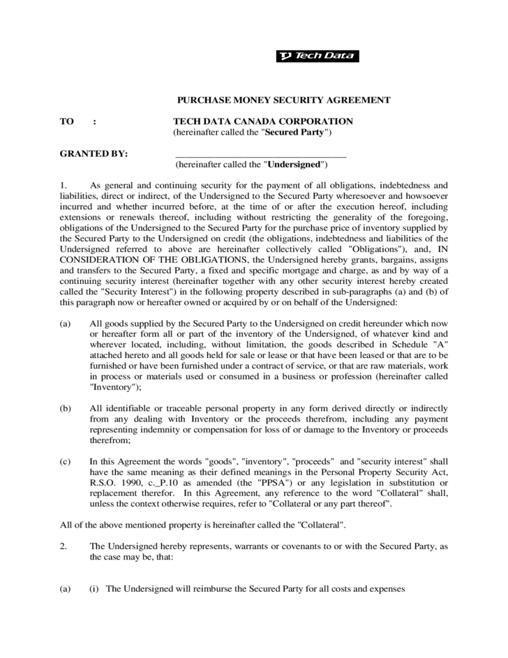 Purchase Money Security Agreement Form Canada Free Download