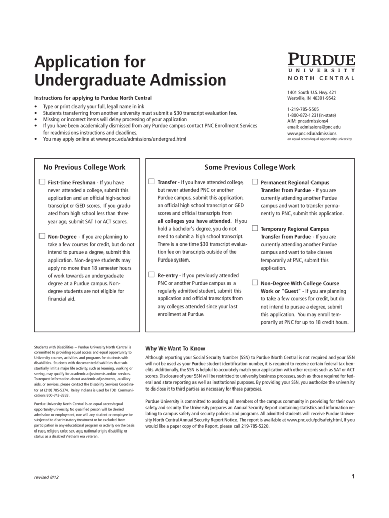 Purdue University Application Form - Purdue University