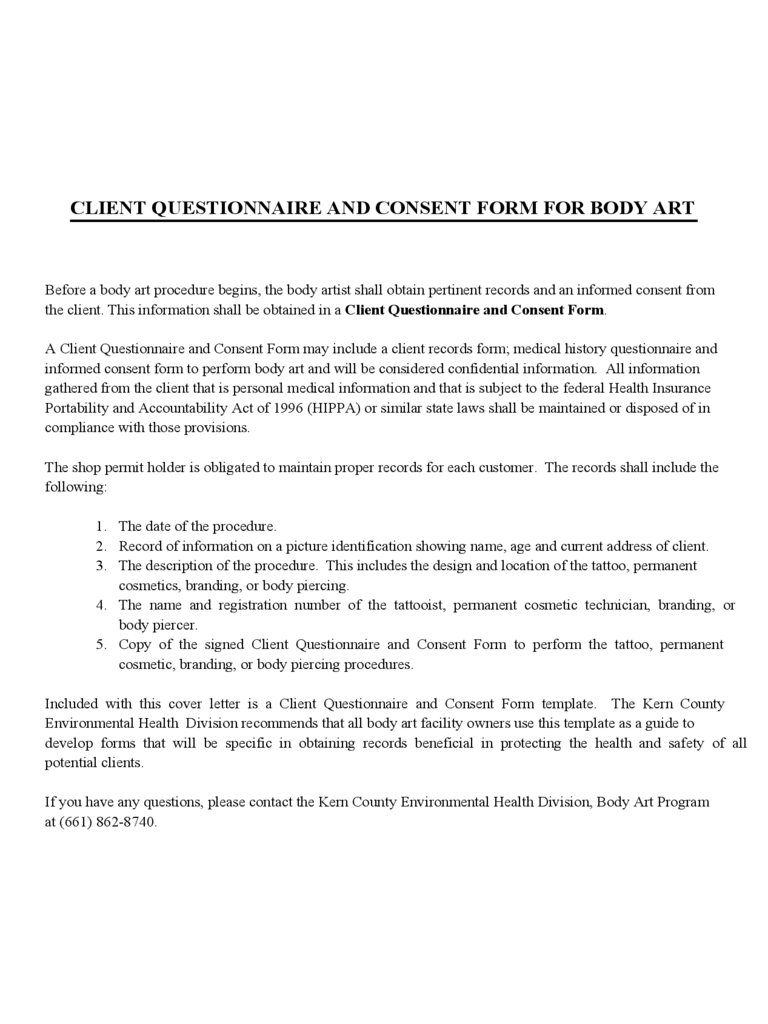 Client Questionnare and Consent Form for Body Art