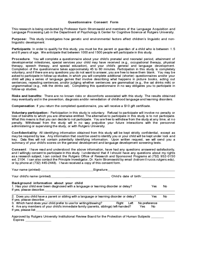 Questionnaire Consent Form - New Jersey