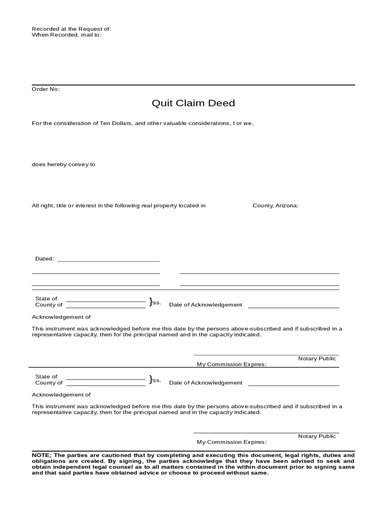 Quit Claim Deed Example - Arizona