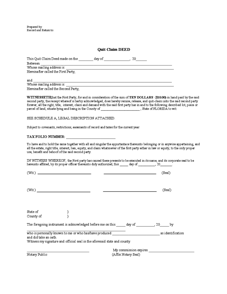 Quitclaim Deed Template - Florida Free Download