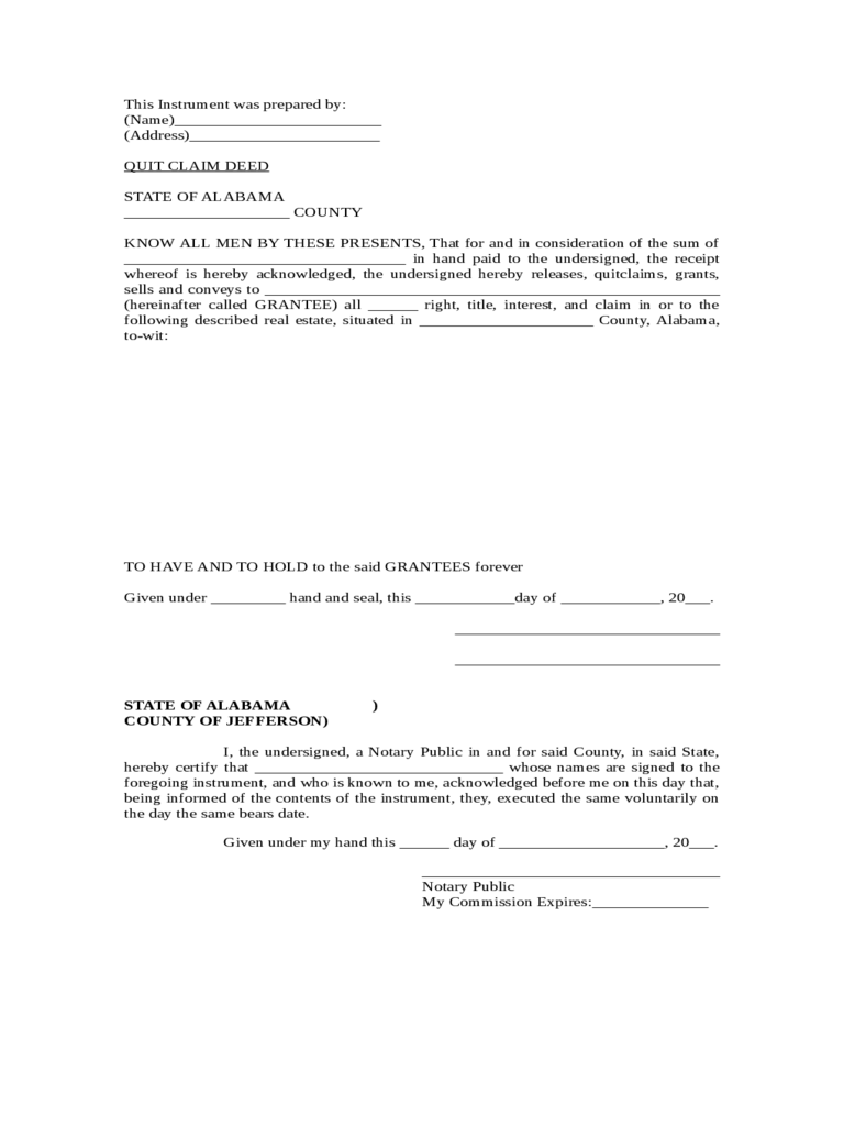 quit claim deed form 86 free templates in pdf word
