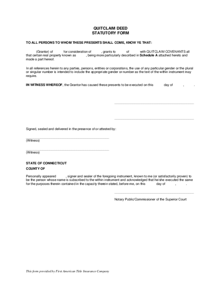 Quitclaim Deed Statutory Form - Connecticut Free Download