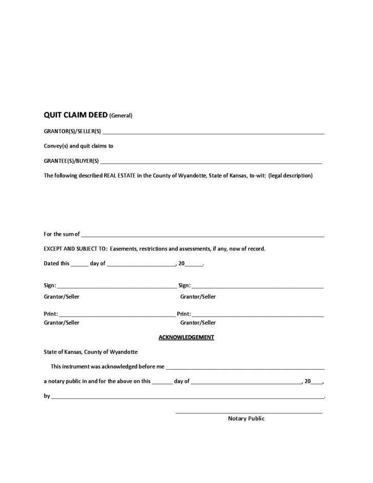 kansas quit claim deed General Quit Claim Deed - Kansas Free Download