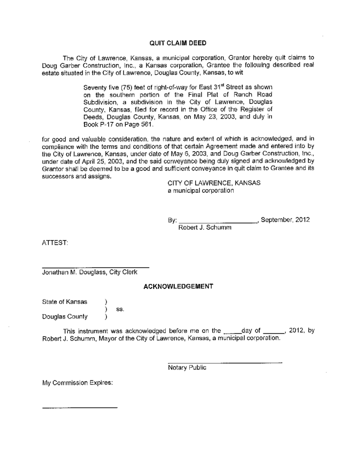 kansas quit claim deed Quit Claim Deed Template - Kansas Free Download