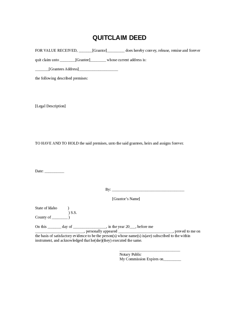 Quit Claim Deed Form 86 Free Templates in PDF Word Excel Download – Sample Quitclaim Deed Form