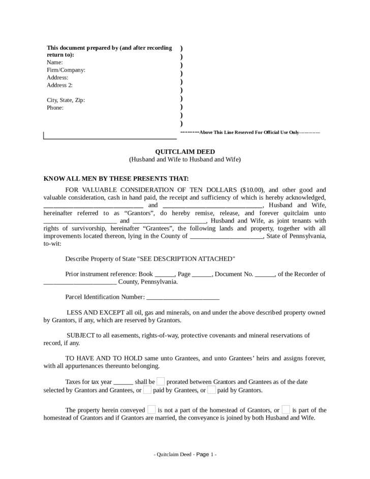 quitclaim deed pennsylvania free download