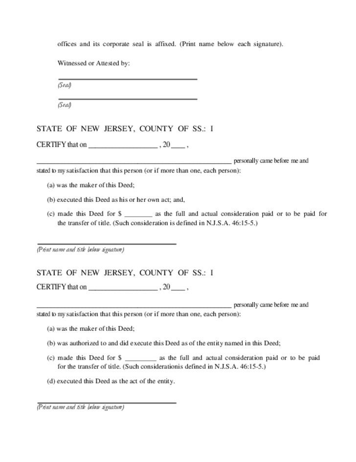 quit claim deed form nj  Quitclaim Deed - New Jersey Free Download