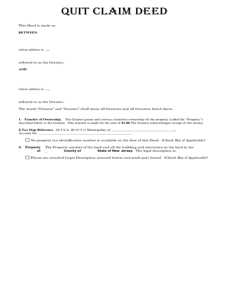 Deed of Quit Claim - New Jersey Free Download